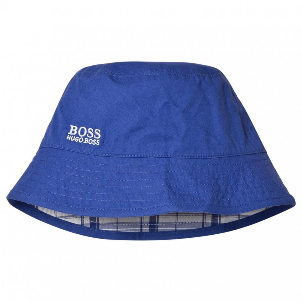 Hugo Boss Kids Blue Reversible Bucket Hat 1788e3f5548