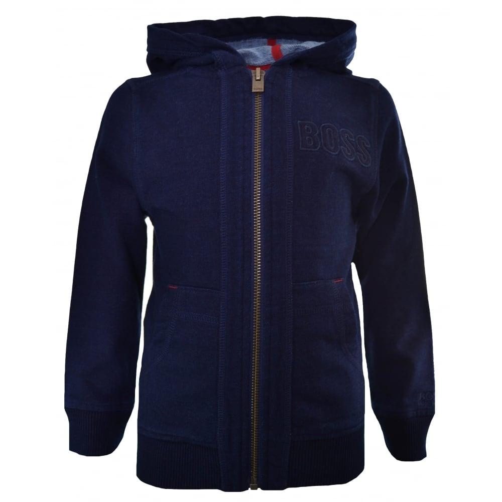 201d2cc3feae Hugo Boss Kids Indigo Hooded Zip Through Sweatshirt