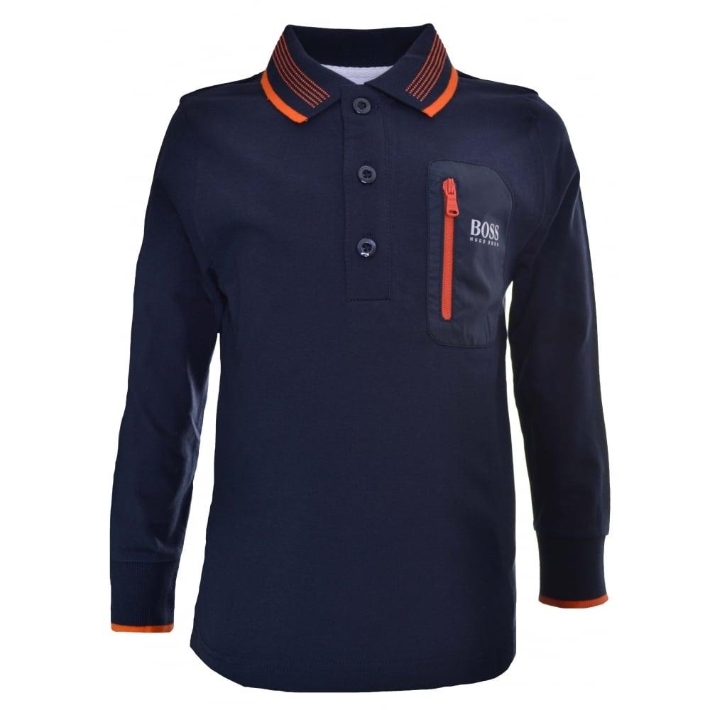 085f804eb Hugo Boss Kids Navy Blue Long Sleeved Polo Shirt