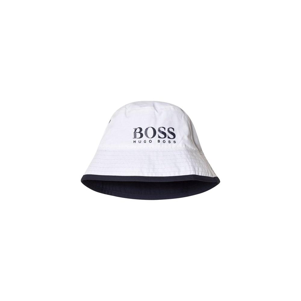 Hugo Boss Kids White And Navy Reversible Bucket Hat a0638f2c5c8
