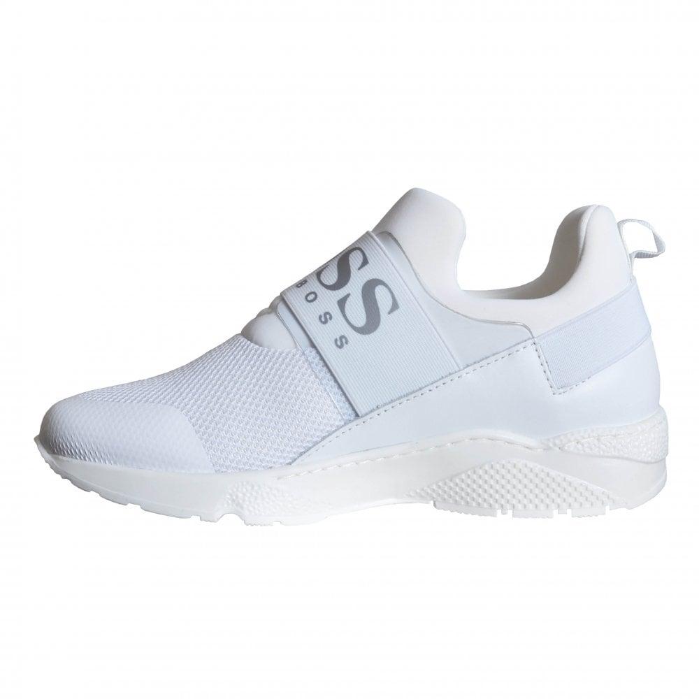 hugo boss kids white slip on trainers