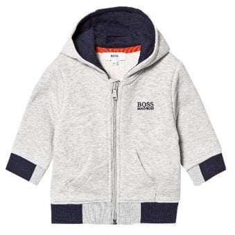 05b7adf94a Hugo Boss Boys Infants Grey and Navy Hooded Tracksuit