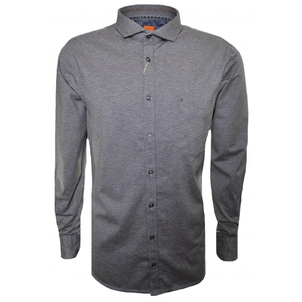 09740f3a Hugo Boss Men's Slim Fit Light/Pastel Grey Cattitude Long Sleeved