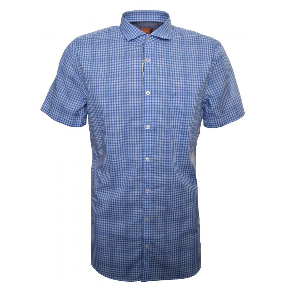 fb9af9154 Hugo Boss Men's Slim Fit Open Blue Cattitude Short Sleeve Shirt