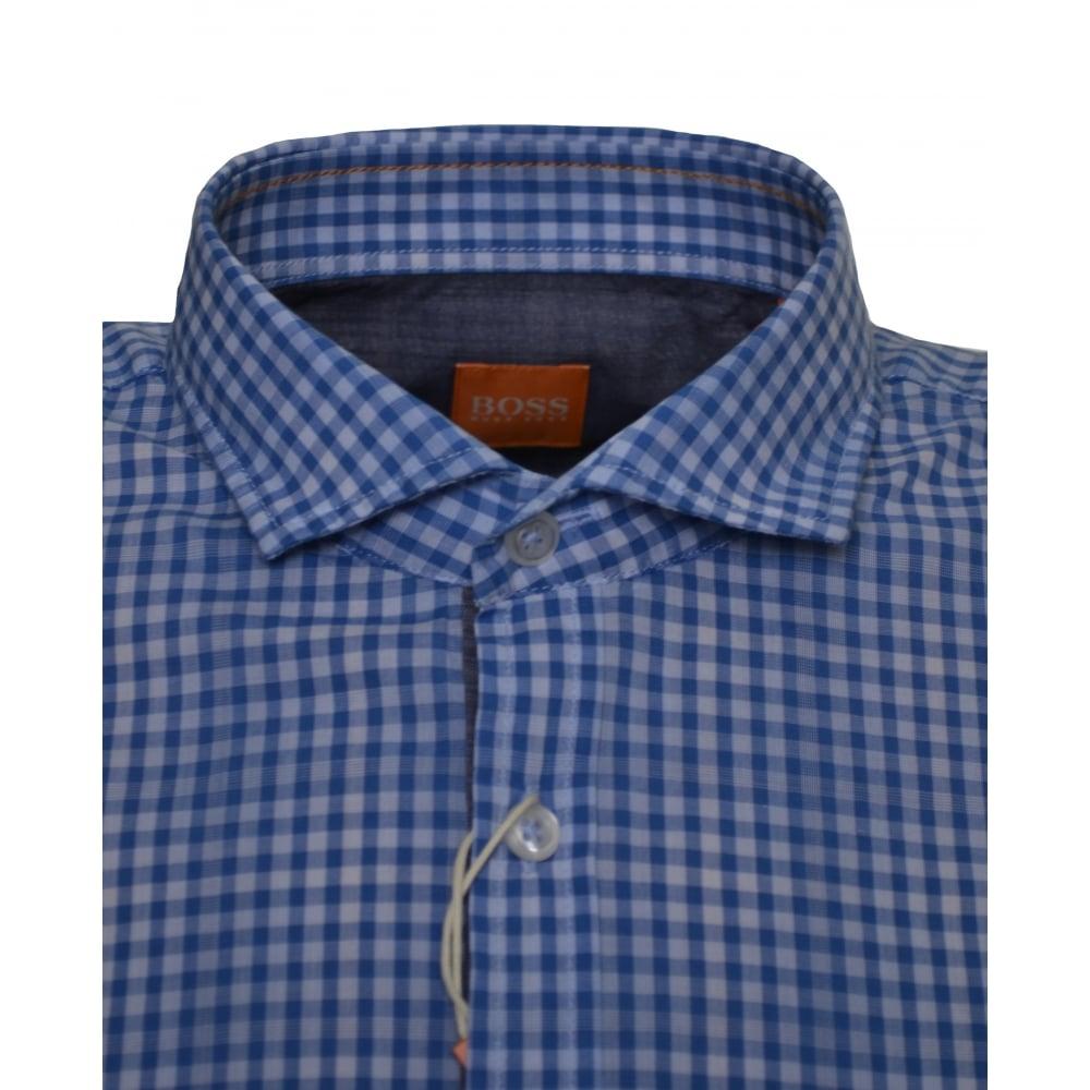 76ad6605 Hugo Boss Men's Slim Fit Open Blue Cattitude Short Sleeve Shirt