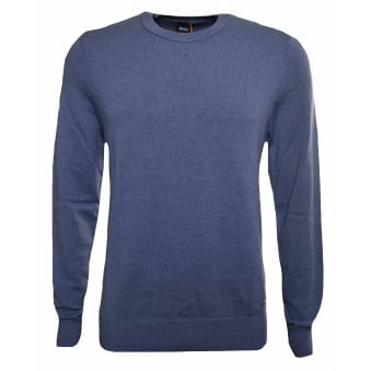 Hugo Boss Casual Men's Akroeged Open Blue Jumper