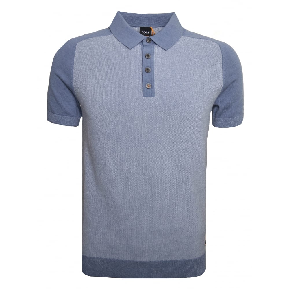 794a5fdbe Hugo Boss Casual Men's Blue Kapwolos Knitted Polo Shirt