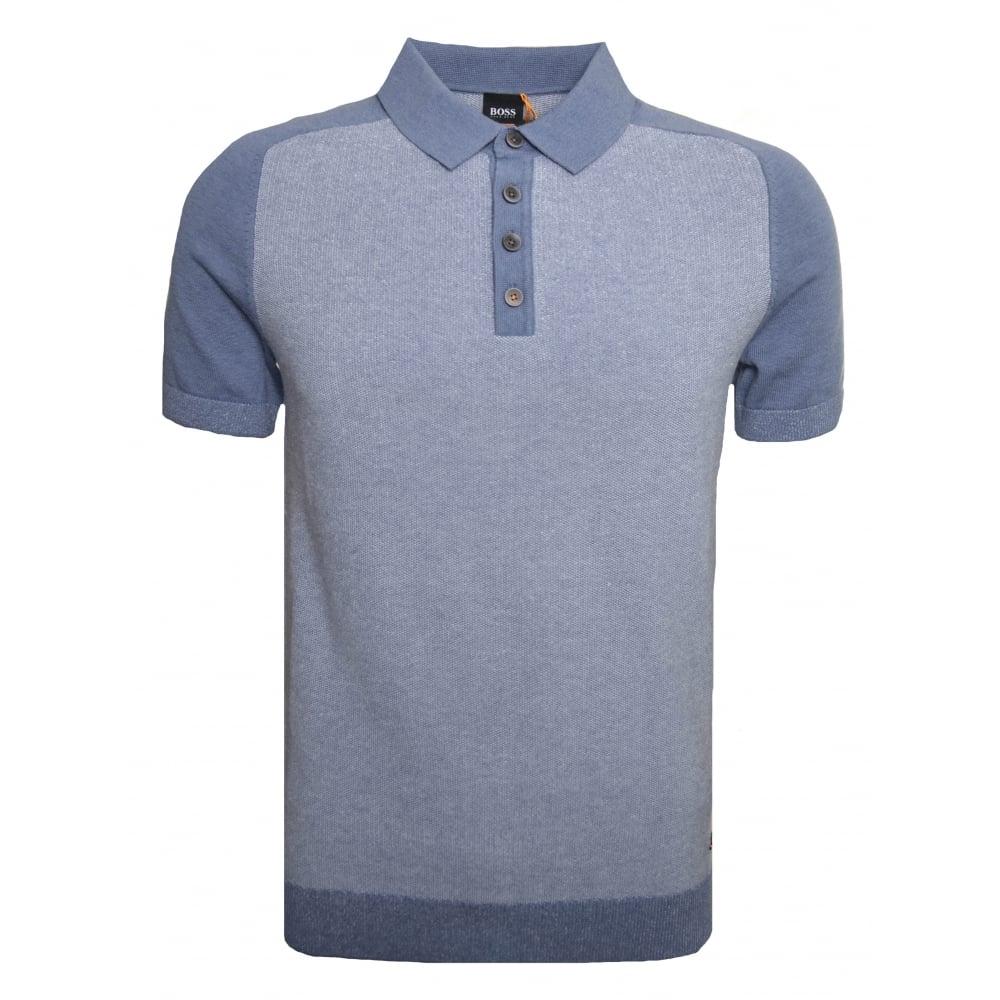 2ed9c6d20 Hugo Boss Casual Men's Blue Kapwolos Knitted Polo Shirt