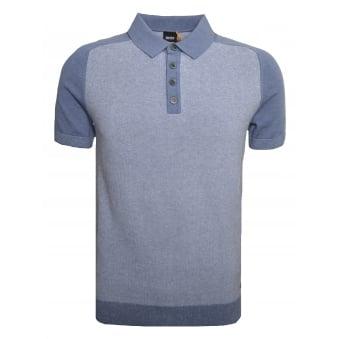 Hugo Boss Casual Men's Blue Kapwolos Knitted Polo Shirt