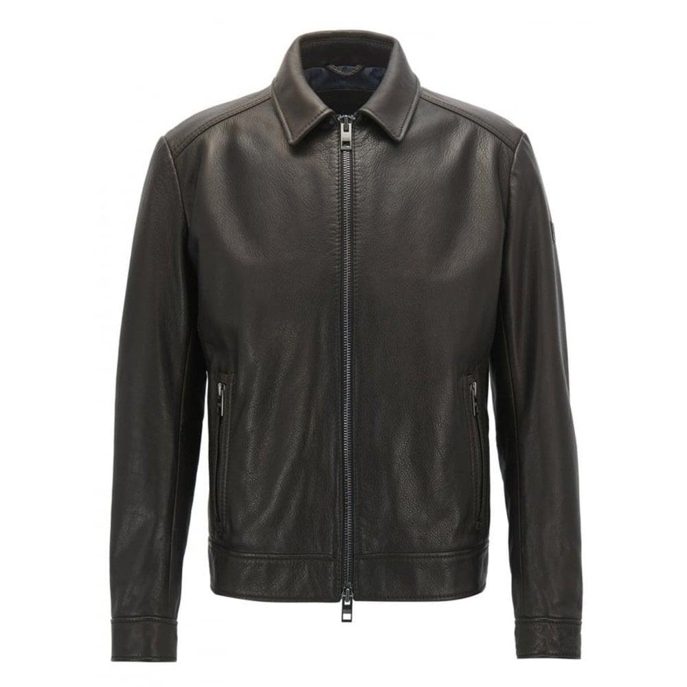 71875e791 Hugo Boss Casual Men's Juba Dark Brown Leather Jacket
