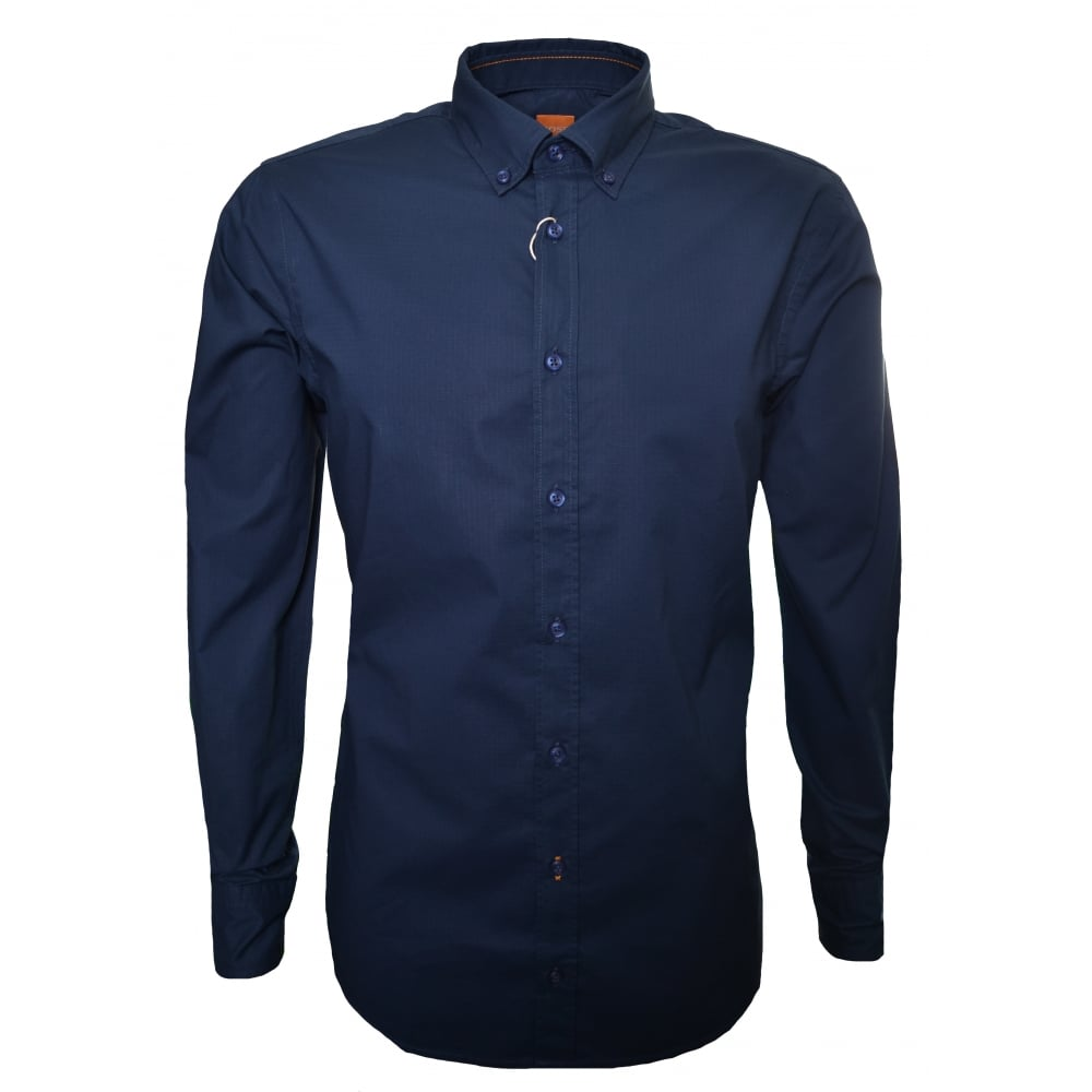 c2d57bd7 Hugo Boss Casual Men's Slim Fit Dark Blue Epreppy Long Sleeve Shirt
