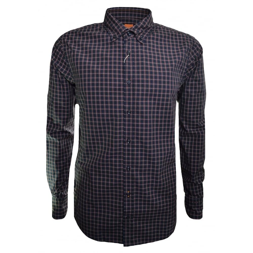 186d5bfee Hugo Boss Casual Men's Slim Fit Epreppy Check Pattern Long Sleeved  Shirt