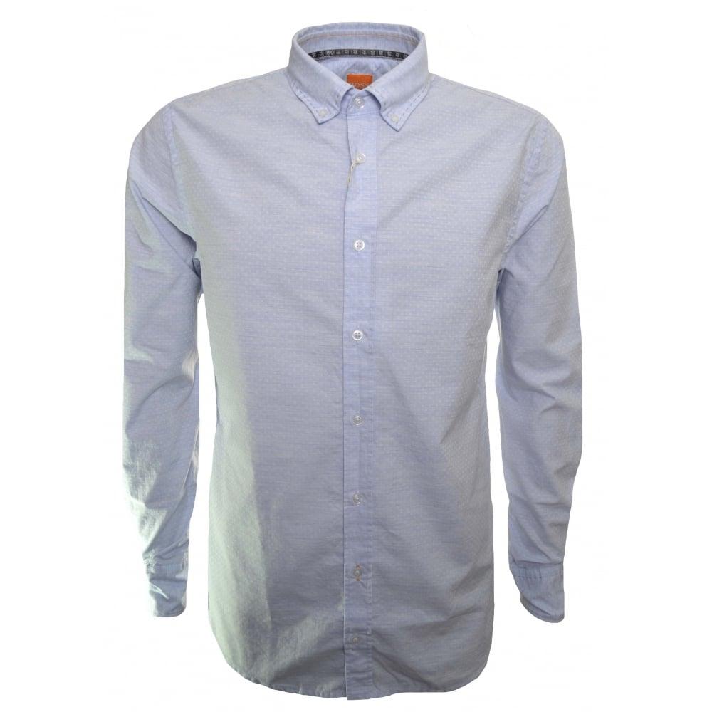 2cf0dd5278 Hugo Boss Casual Men's Slim Fit Epreppy Open Blue Long Sleeved Shirt