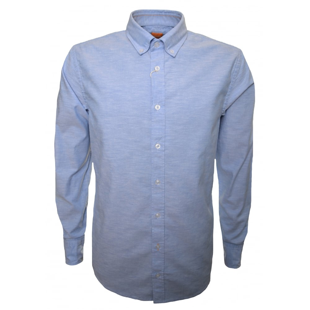 watch outlet online big selection of 2019 Hugo Boss Casual Hugo Boss Casual Men's Slim Fit Open Blue Epreppy Long  Sleeve Shirt