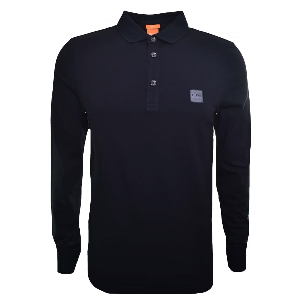 d8bc9c702c6f Hugo Boss Casual Slim Fit Black Passerby Long Sleeved Polo Shirt