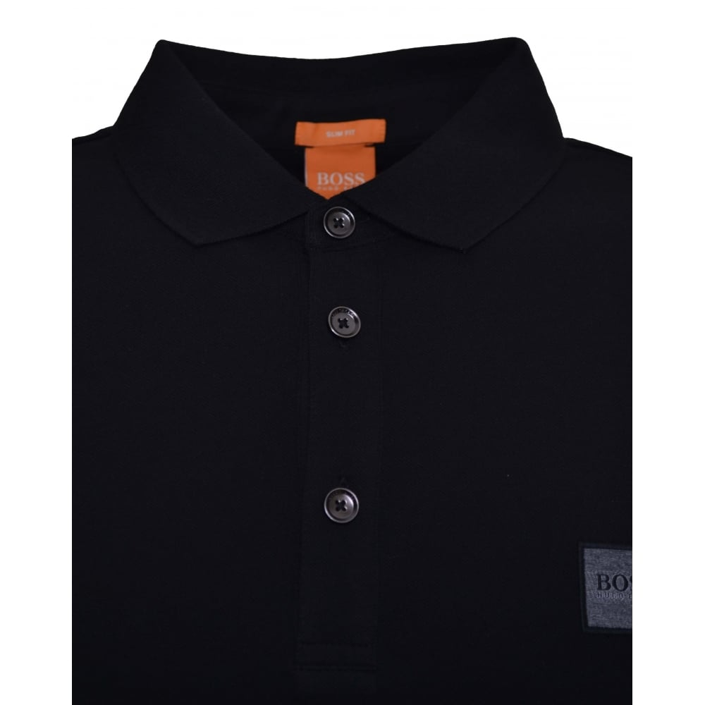9648bd2bc51 Hugo Boss Casual Slim Fit Black Passerby Long Sleeved Polo Shirt