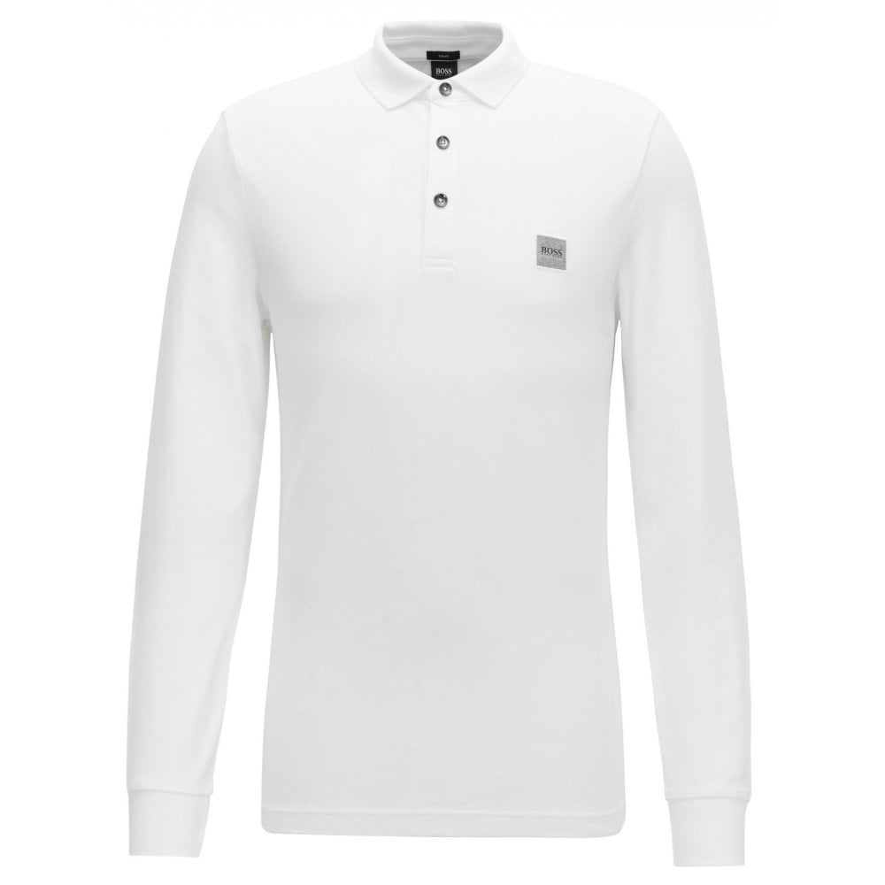 b58d62535b8 Hugo Boss Casual Slim Fit White Passerby Long Sleeved Polo Shirt