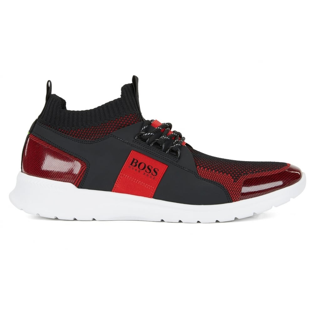 2a96af132f2 Hugo Boss Green Men's Dark Red Extreme_Runn_Knit Trainers