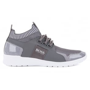 Hugo Boss Green Mens Grey ExtremeRunnKnit Trainers