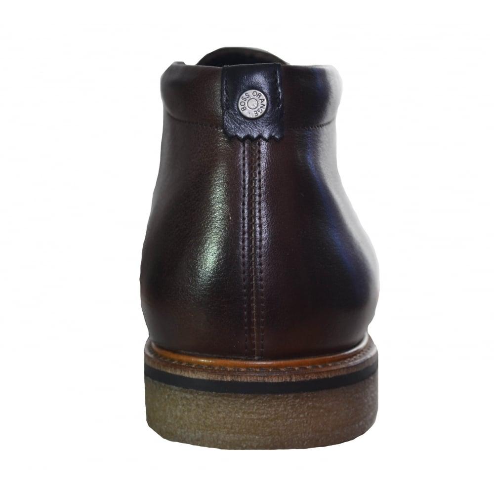 5ce6fec383e4b Hugo Boss Men's Dark Brown Leather Tuned Boots