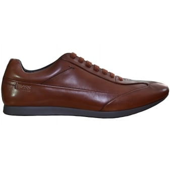 Hugo Boss Men's Fult Medium Brown Smooth Leather Trainers