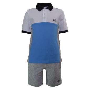 Hugo Boss Kids Blue And Grey Polo And Shorts Set