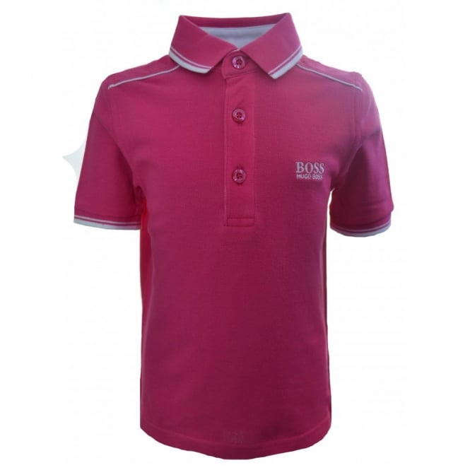 Hugo Boss Kids Fuschia Pink Short Sleeve Polo Shirt