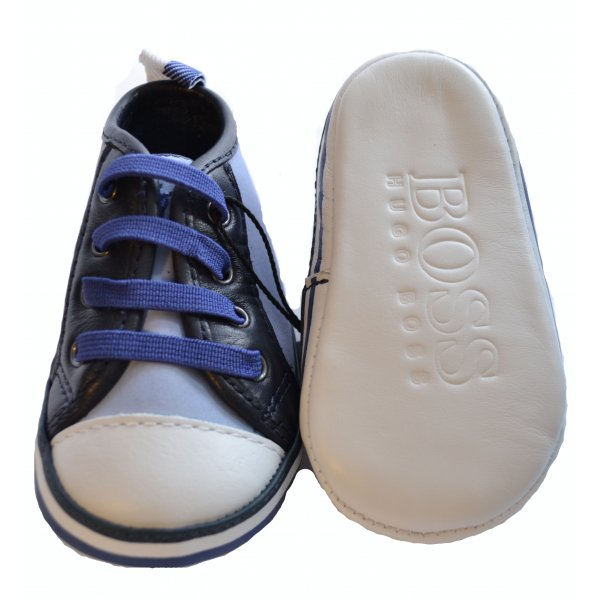 421d156f9ad21 Hugo Boss Baby Pale Blue And Navy Blue Pram Shoes