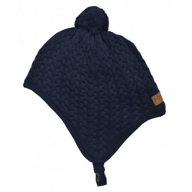 hugo boss boys navy blue knitted hat 3d06768e2e7