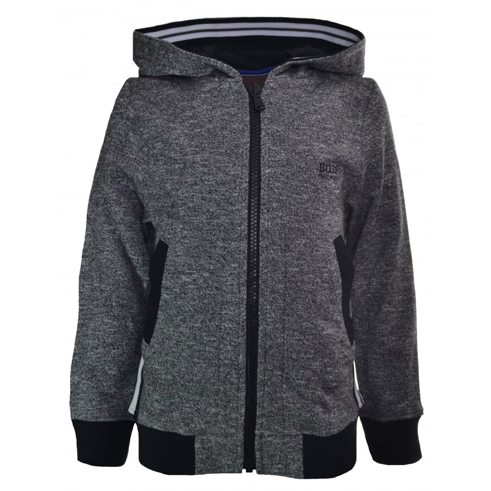 Hugo Boss Infants And Kids Grey Marl Hooded Sweatshirt