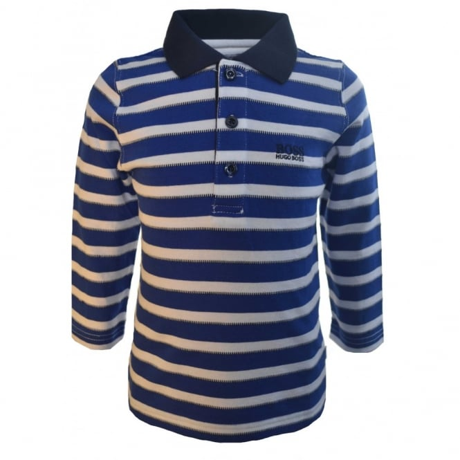 Hugo Boss Kids Hugo Boss Infants Blue And White Long Sleeve Striped Polo Shirt
