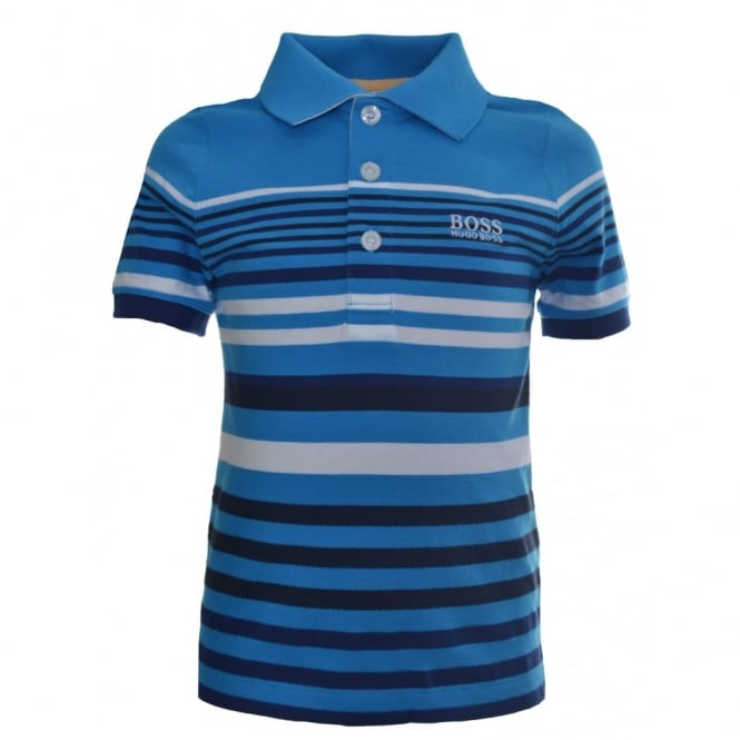 0896b900e359 Hugo Boss Infants Blue Striped Short Sleeve Polo Shirt