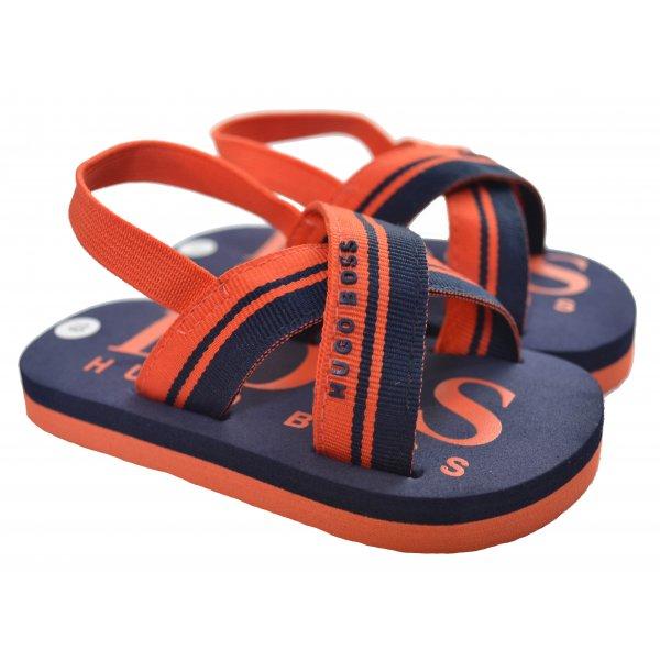 8baf8f7190110 Hugo Boss Infants Navy Blue and Orange Flip Flops