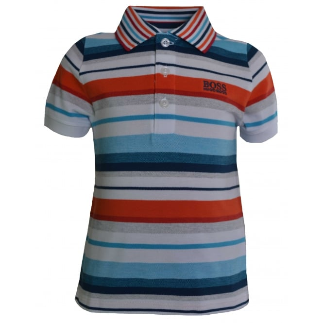 Hugo Boss Kids Hugo Boss Infants White Striped Polo Shirt