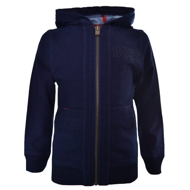 Hugo Boss Kids Indigo Hooded Zip Through Cardigan