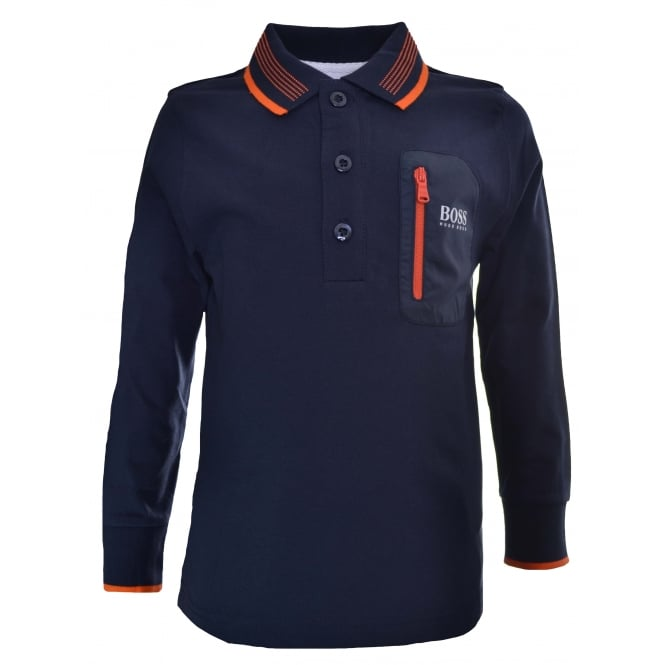 Hugo Boss Kids Navy Blue Long Sleeved Polo Shirt