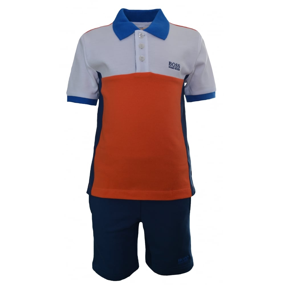 b83e26f2bf6d9 Hugo Boss Kids Orange And Blue Polo And Shorts Set