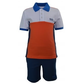 Hugo Boss Kids Orange And Blue Polo And Shorts Set