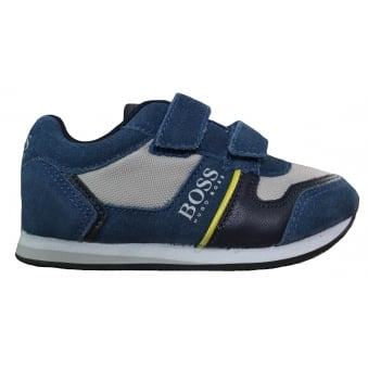 Hugo Boss Kids Slate Blue Velcro Trainers