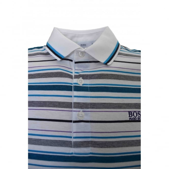 456f5b907 Hugo Boss Kids White and Purple Striped Polo Shirt