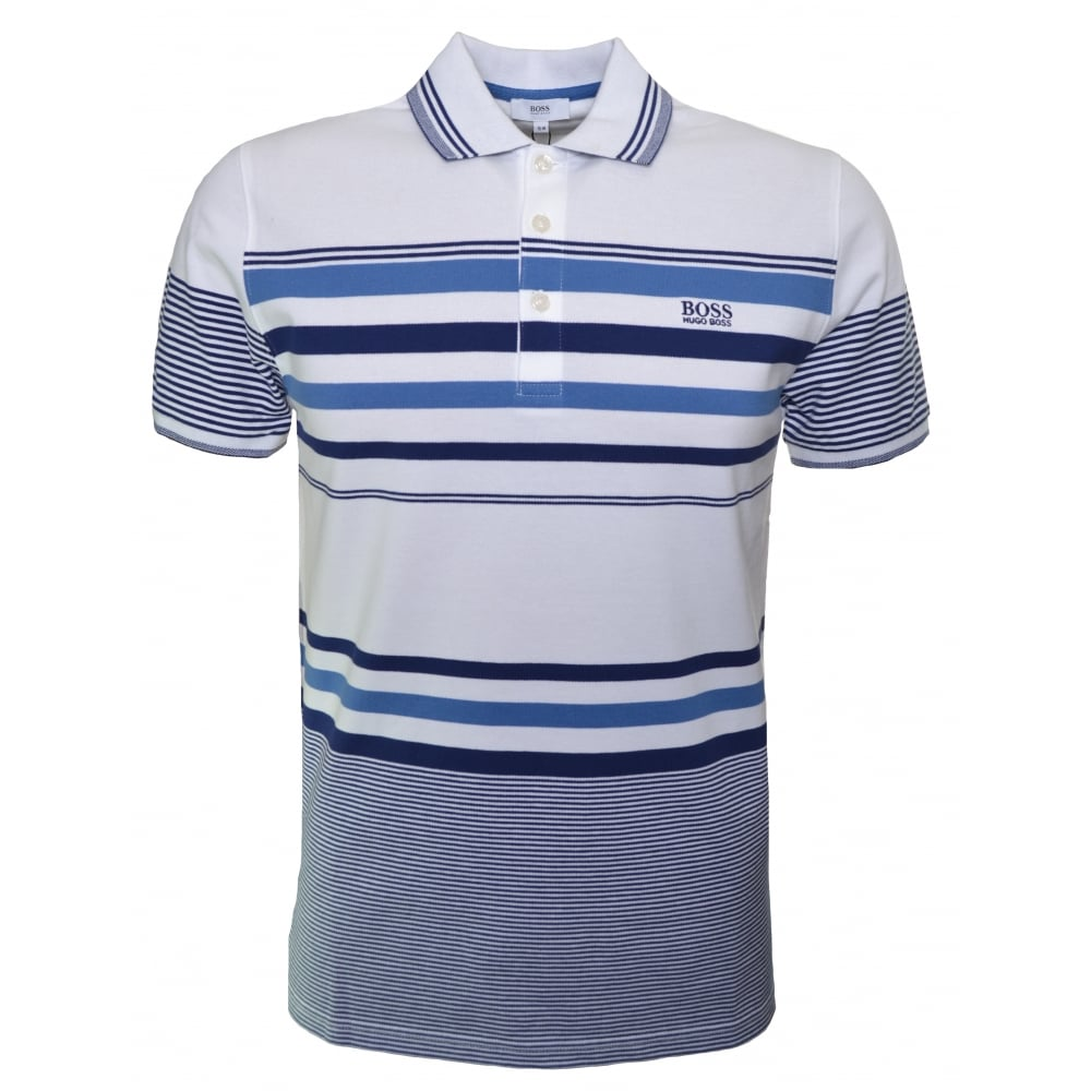331adbfb Hugo Boss Kids White Striped Short Sleeve Polo Shirt