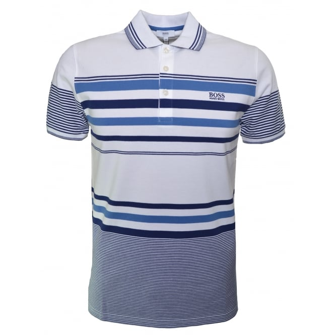 Hugo Boss Kids White Striped Short Sleeve Polo Shirt