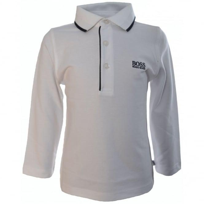 da973ab4 Hugo Boss Kids White Tipped Long Sleeve Polo Shirt