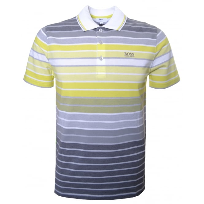 Hugo Boss Kids Yellow And Grey Striped Polo Shirt