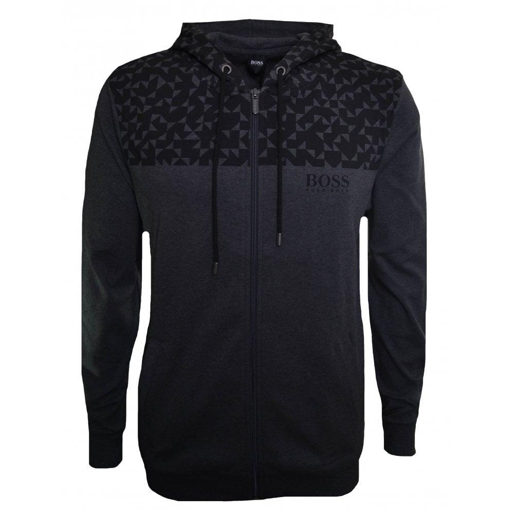 7c97755ad Hugo Boss Men's Black And Grey Contemp Hooded Zip sweat top