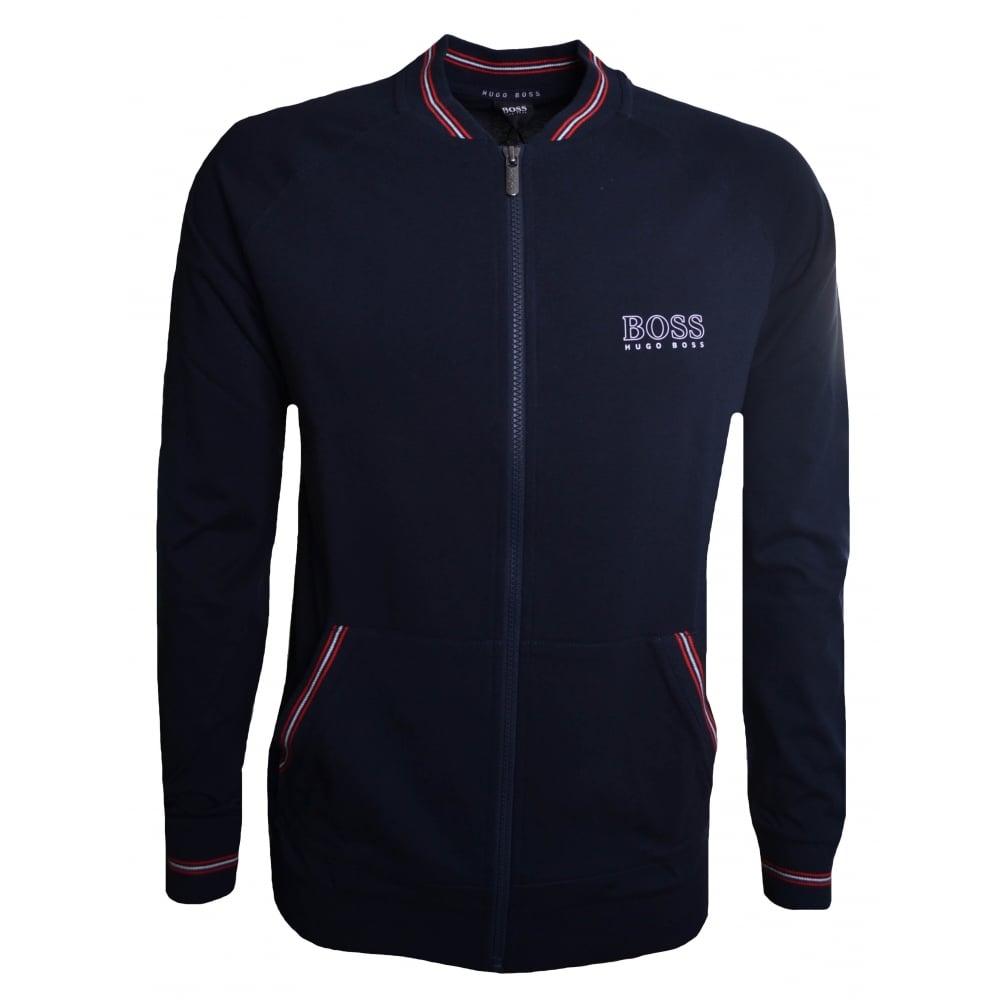 BOSS Authentic Full Zip College Jacket Sweat Top in Black