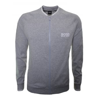 Hugo Boss Men's Grey College Zip Through Sweatshirt