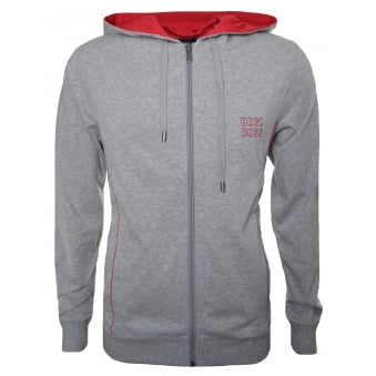 Hugo Boss Men's Grey Hooded Zip Through Sweatshirt