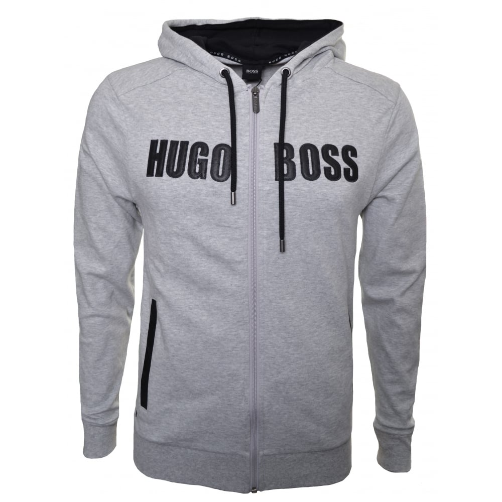 55b58563cba9 Hugo Boss Men  039 s Grey Hooded Zip Through Sweatshirt