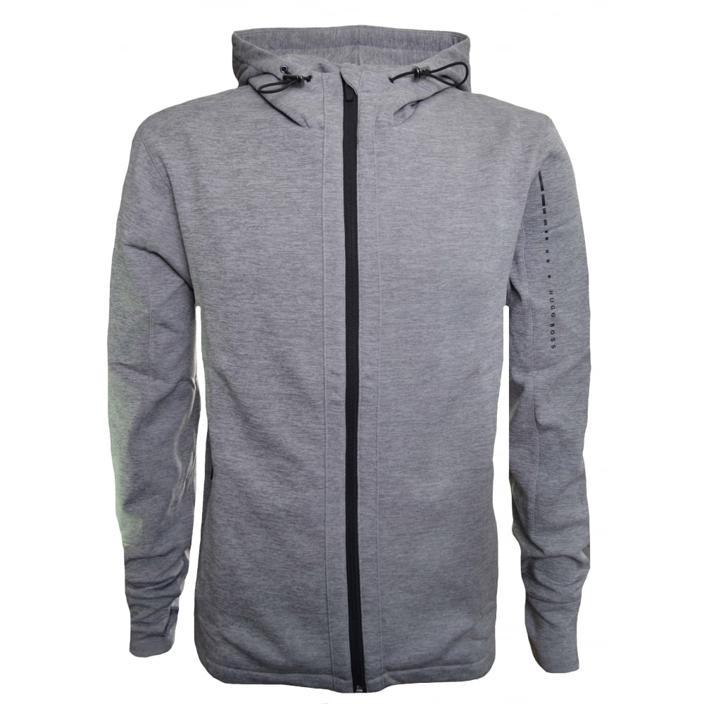 Hugo Boss Men  039 s Grey Hooded Zip Through Sweatshirt 6ee854f1e961